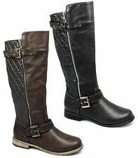 Womens Ladies Faux Leather Zip Twin Buckle Padded Comfy Biker Boots Black/Brown