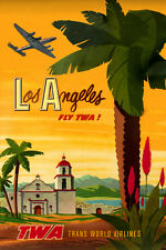 TWA Trans World Airlines Constellation Los Angeles New Travel Poster-3 sizes-068