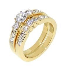1.35ct Gold IP Stainless Steel WOMENS WEDDING/ENGAGEMENT RING SET SIZE 5-10