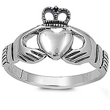 NEW STYLE IRISH CLADDAGH HEART .925 Sterling Silver Ring SIZES 5-9
