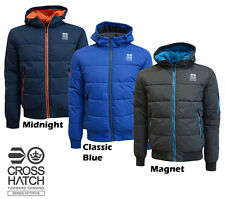 Mens Jacket Crosshatch Coat Bubble Quilted Puffer Padded Hooded Lined Winter New