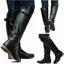 New Womens FL42 Black Blue Zipper Studded Riding Knee High Boots Sz 5.5 to 10