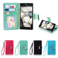 IZENGATE Wallet Flip Case PU Leather Cover Folio for LG Optimus G E970 AT&T