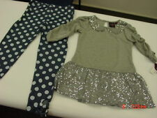NWT Girls Fancy Holiday Outfit Party Pretty Tunic Pants Gray Blue Sparkle Sequin