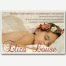 Photo Christening Invitations -Beige Handmade By me Fabulous Quality - Angel