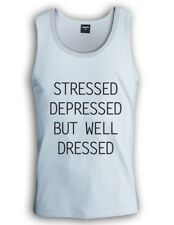 STRESSED DEPRESSED BUT WELL DRESSED Singlet TUMBLR Dope Top Cara trill