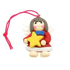 Fimo Christmas Charm / Tree Decorations, Angel Fairy Holding A Star, 2 Pack