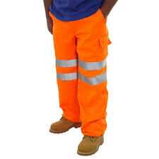 Hymac Orange Hi Viz Trousers Vis Work Ware Contractor Pants Pack Of 2 Mens