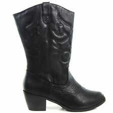 Western09 Black P-Leather Women Cowboy Cowgirl Western Boots Heel Shoes Rodeo