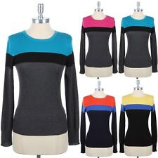 Three Color Blocked Long Sleeve Crewneck Knit Sweater Ribbed Hem Cuff Cute S M L