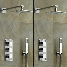 Luxury Concealed Square Mixer Shower Head + Modern Thermostatic Bathroom Valve