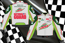 Dale Earnhardt Jr Nascar Jacket Diet Mountain Dew Gray Green Twill