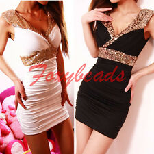 Sexy Womens Sequins Glitter V Neck Bodycon Party Mini Dress Stretch Cocktail HOT