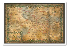 The Hobbit Map Of The Shrine Magnetic Notice Board Includes Magnets