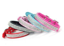 Diamante Bling Rhinestone Gem Luxary Dog Collar Black Blue Pink Red