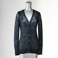 NEW Simply Vera Vera Wang Floral Pointelle Cardigan XS,S,M,L,XL Gray or Blue