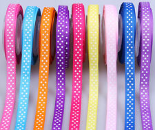 "5/50/100yards 3/8"" swiss dotty sewing gift hairbow grosgrain ribbon scrapbooking"