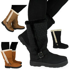 WOMENS LADIES WIDE CALF WARM WINTER BUCKLE SNOW FLAT BOOTS SHOES SIZE 4 5 6 7 8