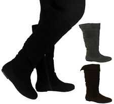 NEW WOMENS LADIES FAUX SUEDE PIXIE MID-CALF FLAT LOW HEEL WORK BOOTS SHOES SIZE