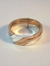 Sterling Silver & Bronze 4 Band Unity / Puzzle Ring - .925 Solid Silver