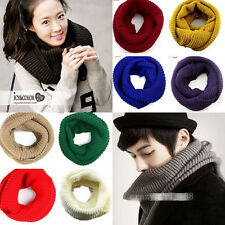 Winter Warm Women Men Infinity Two Circle Cable Knit Cowl Neck Soft Shawl Scarf