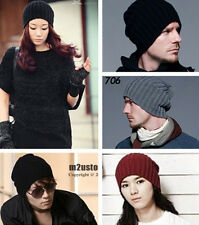 HOT! WINTER Unisex KNIT CROCHET SKI BEANIE KNITTING WOOL SOLID HATS CAPS one
