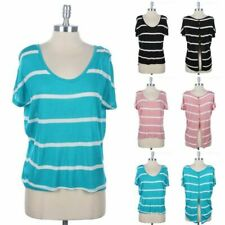 Striped High Low Hem Short Sleeve Top with Buttoned Detail Open Back Rayon S M L