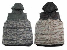 New Mens Enyce Bubble Vest With Hood Camouflage Military Design Green, Khaki