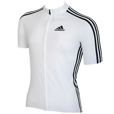 adidas Performance Mens Cycling Race Short Sleeve Zipped Jersey Top - White