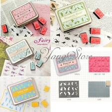 Lovely DIY Rubber Stamps Set In Tin Box Case Kids Child Girl Boy Toy Drawing Art