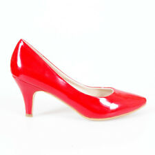 DESIGNER CLASSIC POINTY MID HEEL PUMPS SHOES PATENT RED