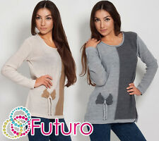WINTER Womens Jumper 2-Coloured Cardigan Long Sleeve Crew Neck Size 8 - 12 FR14