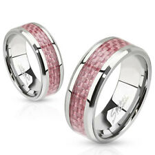 316L Stainless Steel with Pink Carbon Fiber Inlay Ring Women's Band Size 5-13