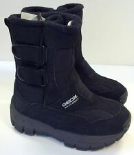 GEOX BOYS/ GIRLS TODDLER  WINTER WATERPROOF COMFORT BOOTS IN BLACK LEATHER
