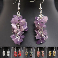 EH602 Free Shipping Natural Gemstone Amethyst Coral Handmade Tibetan Earrings