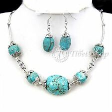 Buy 2 Get 1 Free,  White Turquoise Red Coral Necklace Earrings Set XM280