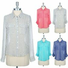 Polka Dot Chiffon Blouse with Long Roll Up Sleeve Button Down Chest Pocket S M L