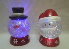 """1 x Colour Changing 5.5"""" Christmas LED Paperweight Glitter Ball Snowman Santa"""