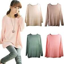 New Women Girl Casual Smooth Batwing Knitted Sweater Pullovers Jumper Loose Soft