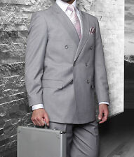 MENS GRAY DOUBLE BREASTED SUPER 150'S WOOL DESIGNER BUSINESS SUIT 38-56