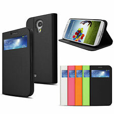 Brushed Finish PU Leather Stand Wallet Case w/ Card Slot fr Samsung Galaxy S4 IV