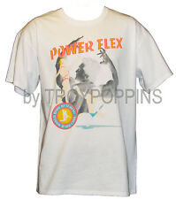POWER FLEX BODY BUILDING PORTRAITS POSE SHIRT WHITE T-SHIRT GRAPHIC PRINTED TEE