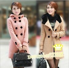New Double Breasted Faux Fur Hood Womens Trench Winter Coat Peacoat Long Jacket