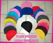 1x Adults or Kids LYCRA SWIMMING CAP - PLAIN COLOURS Swim Hat  ADULT & CHILD New