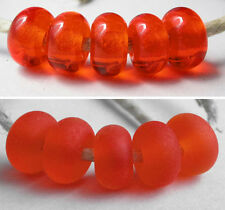 5 ORANGE Transparent * donut handmade lampwork glass spacer beads TANERES sra