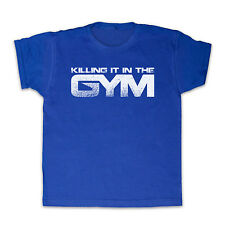 KILLING IT IN THE GYM WORKOUT FITNESS EXERCISE KIDS T SHIRT TEE ALL SIZES & COLS