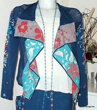 Ivko Jacke Jacket with Intersia Pattern 36 40 marine blau Asymetrisch Cardigan