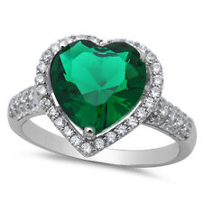 BEAUTIFUL EMERALD & CZ HEART .925 Sterling Silver Ring SIZES 6-10 LIMITED!