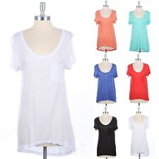 Semi-Sheer High Low Hem Chest Pocket Top Short Sleeve Scoop Neck Rayon S M L