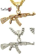 Hip-Hop AK-47 Rifle Iced Out Crystal Miami Pendant Cuban Long Gold Tn Chain 36""